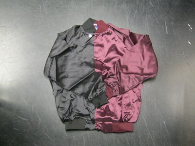 Clearance: Black/Burgundy Two-Tone Satin Baseball Jacket, Size MEDIUM, Blank