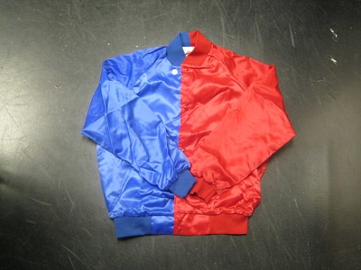 Clearance: Royal Blue/Red Two-Tone Satin Baseball Jacket, Size SMALL, Blank