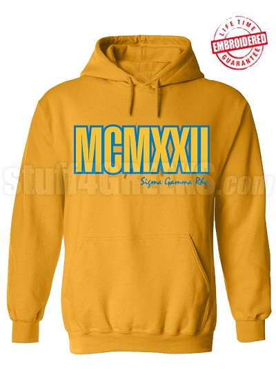 Sigma Gamma Rho Roman Numeral Founding Year Pullover Hoodie - Lifetime Embroidery Guarantee