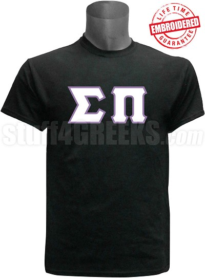 Sigma Pi Greek Letter  T-Shirt, Black - EMBROIDERED with Lifetime Guarantee