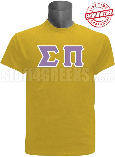 Sigma Pi Greek Letter T-Shirt, Gold - EMBROIDERED with Lifetime Guarantee
