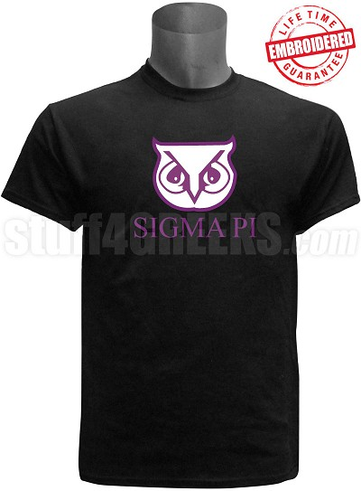 Sigma Pi Sigma Owl Stitched T-shirt, Black - EMBROIDERED with Lifetime Guarantee
