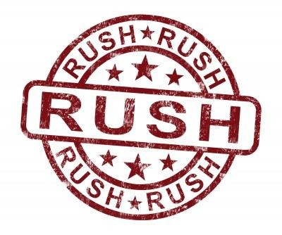 Add Rush to My Order - for orders that normally have a 15+ business-day estimated production time