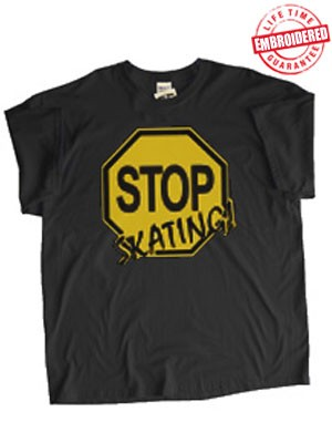 Stop Skating! (Black/Old Gold) T-Shirt - EMBROIDERED with Lifetime Guarantee