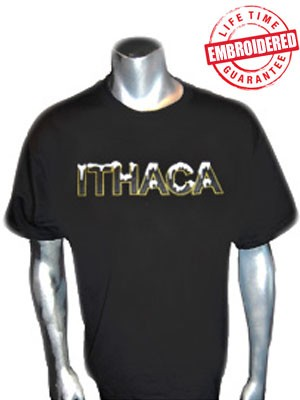 Ithaca Black T-Shirt - EMBROIDERED with Lifetime Guarantee