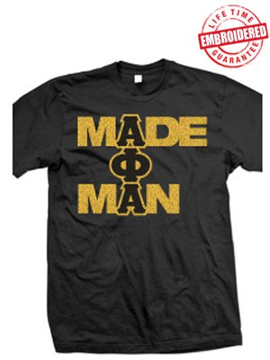 "Alpha Phi Alpha ""Made Man"" Metallic Applique Black T-Shirt - Embroidered with Lifetime Quality Guarantee, Black"
