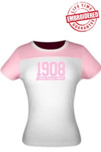 1908 AKA Ladies Fitted Tee, Pink-White - EMBROIDERED with Lifetime Guarantee