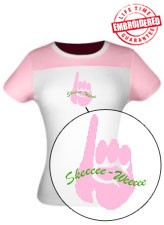 Skee-Wee Pinkie Ladies Fitted Tee, Pink-White -  EMBROIDERED with Lifetime Guarantee