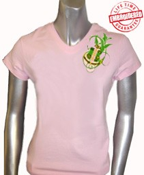 AKA Fancy Crest V-Neck T-Shirt, Pink - EMBROIDERED with Lifetime Guarantee
