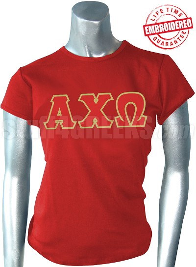 Alpha Chi Omega T-Shirt with Greek Letters, Red -  EMBROIDERED with Lifetime Guarantee