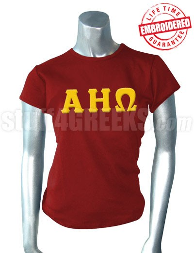 Alpha Eta Omega Greek Letter T-Shirt, Burgundy - EMBROIDERED with Lifetime Guarantee