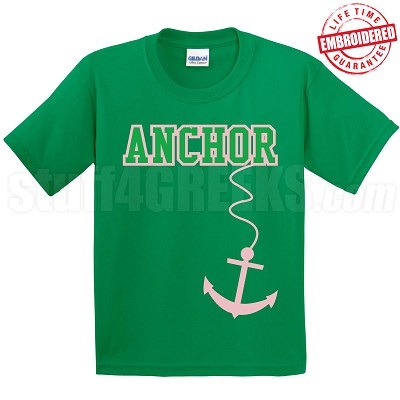 Anchor T-Shirt, Kelly/Pink - EMBROIDERED with Lifetime Guarantee