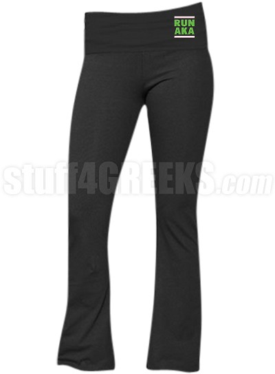 Alpha Kappa Alpha Run DMC Screen Printed Yoga Pants, Black (BC)