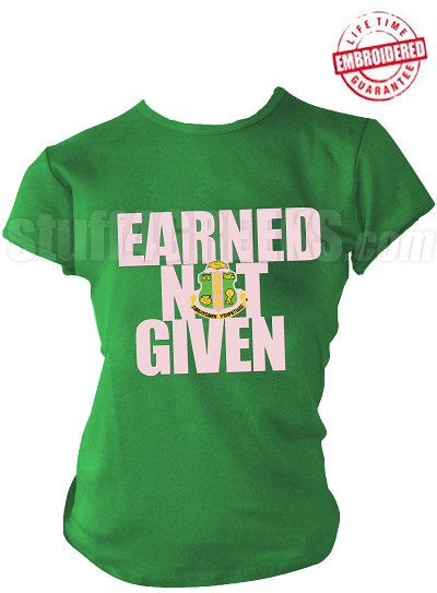 "Alpha Kappa Alpha ""Earned Not Given"" T-Shirt, Kelly Green - EMBROIDERED with Lifetime Guarantee"