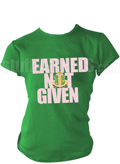 "Alpha Kappa Alpha ""Earned Not Given"" Screen Printed T-Shirt, Kelly Green"