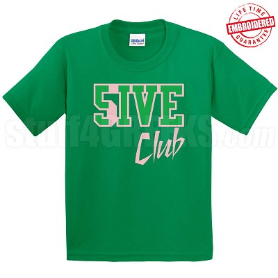 5/Five Club T-Shirt, Kelly/Pink - EMBROIDERED with Lifetime Guarantee