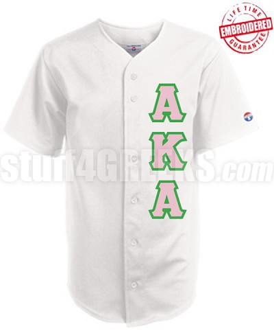Alpha Kappa Alpha Greek Letter Cloth Baseball Jersey, White (TW) - EMBROIDERED WITH LIFETIME GUARANTEE