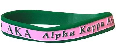 Alpha Kappa Alpha Greek Letter Silicone Wristband with Organization Name, Pink/Green (G2220)