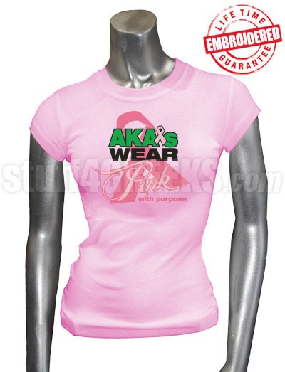 AKA Pink Ribbon Breast Cancer Awareness T-Shirt, Pink - EMBROIDERED with Lifetime Guarantee