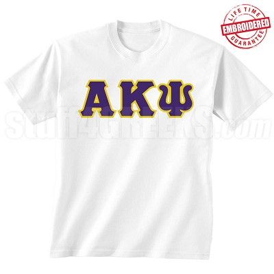 Alpha Kappa Psi Letters T-Shirt, White - EMBROIDERED with Lifetime Guarantee