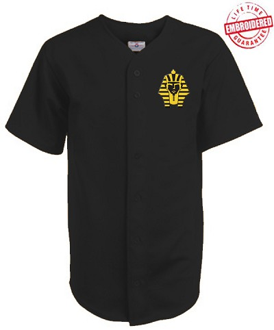 Alpha Phi Alpha Cloth Baseball Jersey with Sphinx Icon, Black (AG1680) - EMBROIDERED WITH LIFETIME GUARANTEE