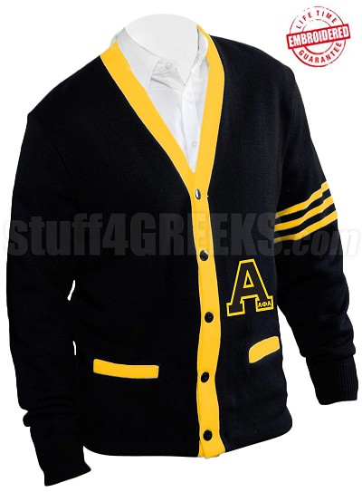 Alpha Phi Alpha Big Varsity Letter Cardigan with Organization Name and Gold Stripes, Black (A+)