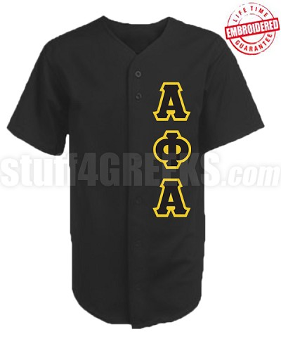 Alpha Phi Alpha Greek Letter Cloth Baseball Jersey, Black (TW) - EMBROIDERED WITH LIFETIME GUARANTEE