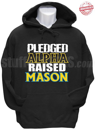 Alpha Phi Alpha Raised Mason Hoodie Sweatshirt, Black - EMBROIDERED with Lifetime Guarantee