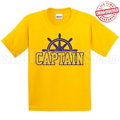 Captain T-Shirt, Gold/Royal - EMBROIDERED with Lifetime Guarantee