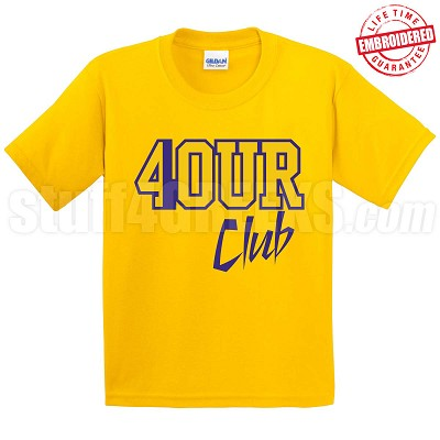 4/Four Club T-Shirt, Gold/Royal - EMBROIDERED with Lifetime Guarantee