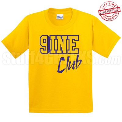 9/Nine Club T-Shirt, Gold/Royal - EMBROIDERED with Lifetime Guarantee