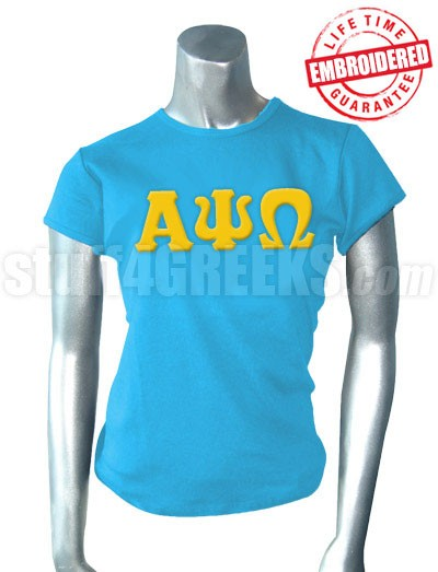 Alpha Psi Omega Ladies' T-Shirt with Greek Letters, Columbia Blue - EMBROIDERED with Lifetime Guarantee