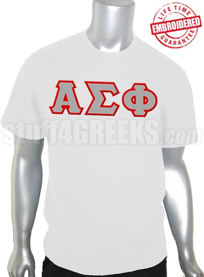 Alpha Sigma Phi Greek Letter T-Shirt, White - EMBROIDERED with Lifetime Guarantee