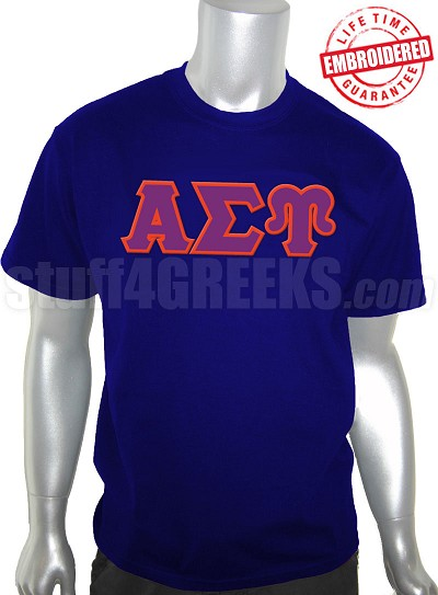 Alpha Sigma Upsilon Men's Greek Letter T-Shirt, Navy Blue - EMBROIDERED with Lifetime Guarantee
