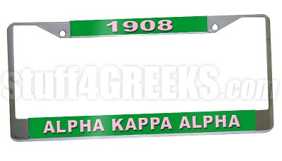 Alpha Kappa Alpha Founding Year License Plate Frame - Alpha Kappa Alpha Founding Year Car Tag (CQ)