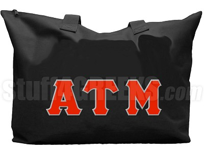 Alpha Tau Mu Tote Bag with Greek Letters, Black