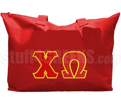 Chi Omega Tote Bag with Greek Letters, Red