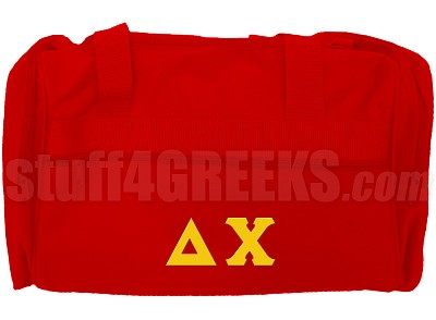 Delta Chi Duffel Bag with Greek Letters, Red