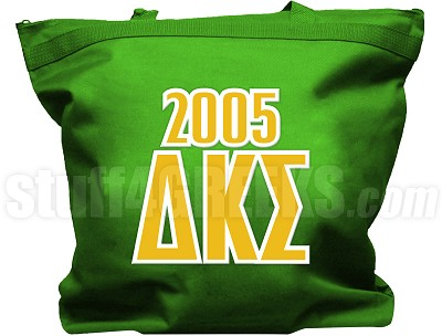 Delta Kappa Sigma Tote Bag with Greek Letters and Founding Year, Green