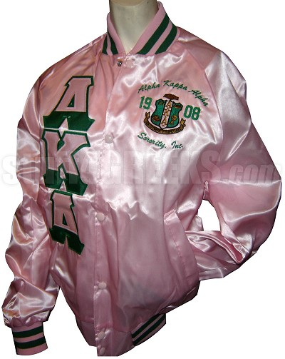 Pink AKA Half-and-Half Letter Baseball Jacket with Crest