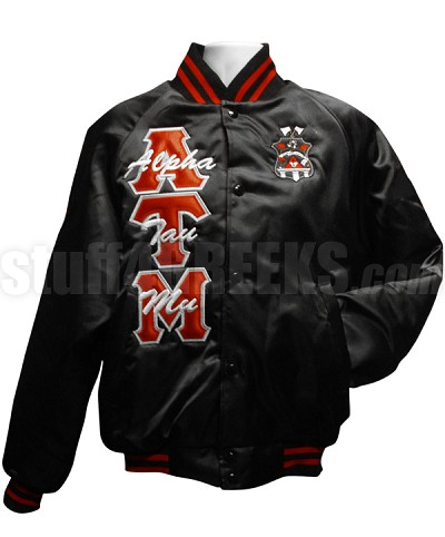 Alpha Tau Mu Crest Satin Baseball Jacket with Name Thru Greek Letters, Black