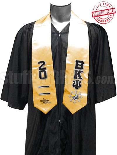 Customizable Beta Kappa Psi Greek Letter and Crest Satin Graduation Stole, Gold - EMBROIDERED with Lifetime Guarantee