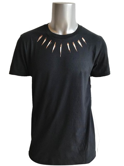 Black Panther Neck Piece Inspired Screen Printed T-Shirt, Black