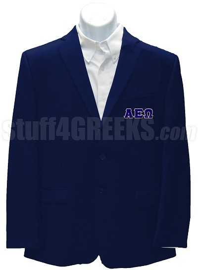 Alpha Epsilon Omega Blazer Jacket with Greek Letters, Navy Blue