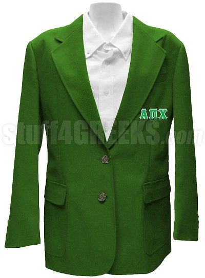 Alpha Pi Chi Blazer Jacket with Greek Letters, Green