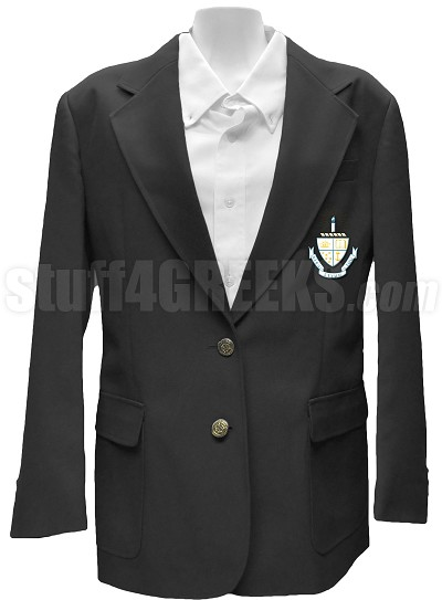 Alpha Sigma Tau Blazer Jacket with Crest, Black