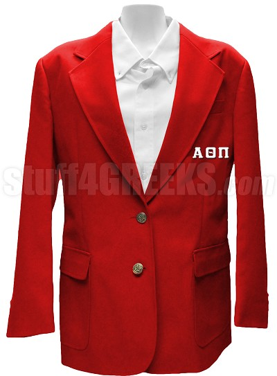 Alpha Theta Pi Blazer Jacket with Greek Letters, Red