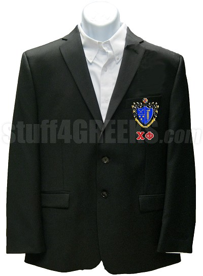 Chi Phi Blazer Jacket with Greek Letters and Crest, Black