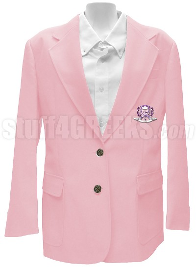 Delta Phi Psi Blazer Jacket with Greek Letters, Pink