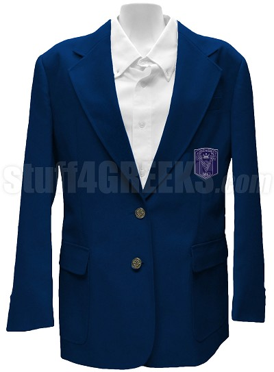 Delta Tau Sigma Ladies' Blazer Jacket with Crest, Navy Blue